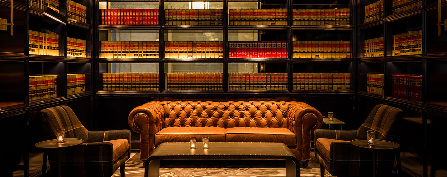 Leather Wrapped Couch and books